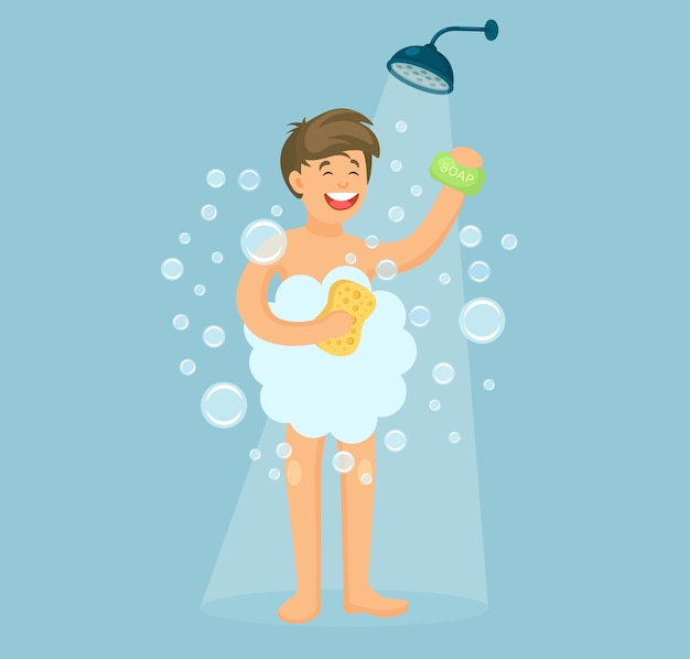 Szczęśliwy człowiek pod prysznicem w łazience. umyj głowę i włosy szamponem, mydłem.