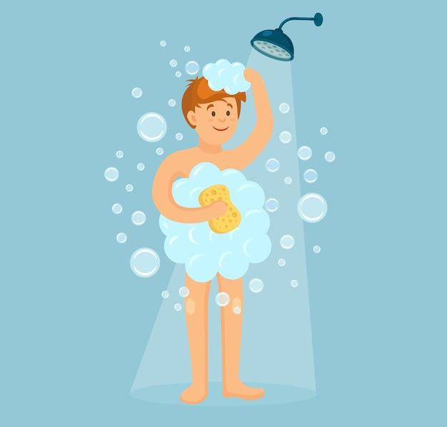 Szczęśliwy człowiek pod prysznicem w łazience. umyj głowę, włosy, ciało, skórę szamponem, mydłem, gąbką. higiena, codzienność.