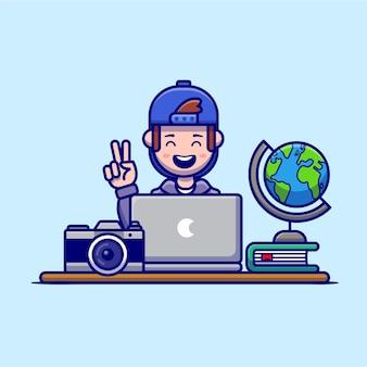 Szczęśliwy człowiek pracujący na laptopie postać z kreskówki. technologia ludzie na białym tle.
