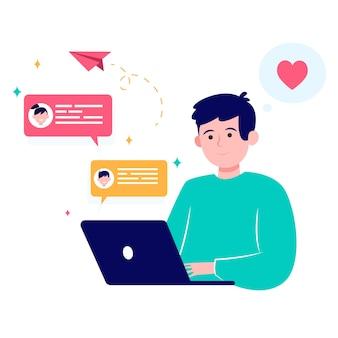 Szczęśliwy człowiek randki online przez laptopa