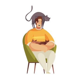 Szczęśliwy człowiek siedzący z trzema kotami w kreskówce w fotelu