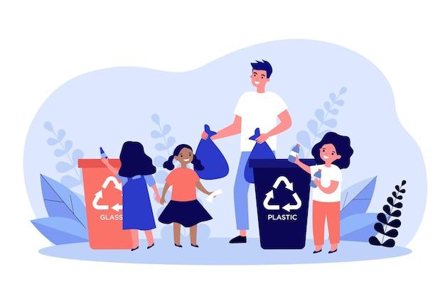 Szczęśliwy człowiek sortuje śmieci z uroczymi dziećmi. plastikowe, dzieci, ilustracja płaski kontener. ekologia koncepcja ochrony i utylizacji odpadów