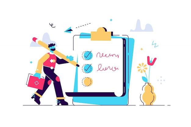 Szczęśliwy człowiek stojący obok gigantycznej listy czeków i trzymając długopis. koncepcja pomyślnego wykonania zadań, skutecznego codziennego planowania i zarządzania czasem. ilustracja wektorowa w stylu cartoon płaski.