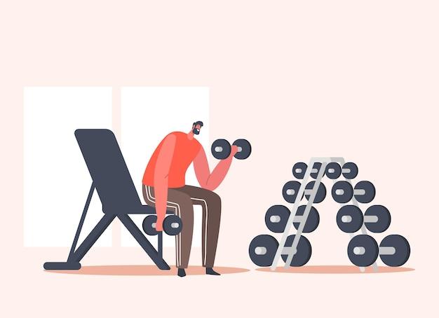 Szczęśliwy człowiek trening z hantlami na siłowni. sportowiec powerlifter męski charakter w treningu odzieży sportowej z wagą. ćwiczenia kulturystyczne, aktywność sportowa, zdrowy styl życia. ilustracja kreskówka wektor