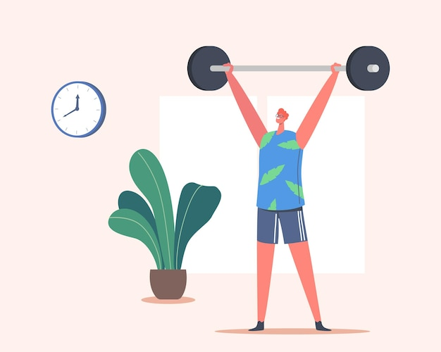 Szczęśliwy człowiek trening ze sztangą. sportowiec powerlifter męska postać w odzieży sportowej ćwiczenia z wagą, kulturystyka