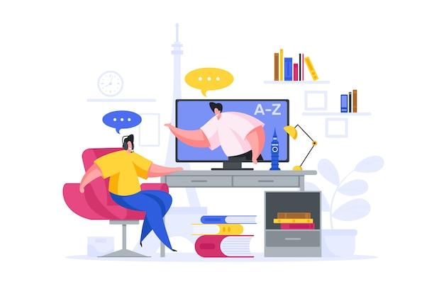 Szczęśliwy człowiek uczący się języka obcego online w domu