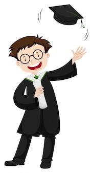 Szczęśliwy człowiek w czarnej sukni ukończenia szkoły