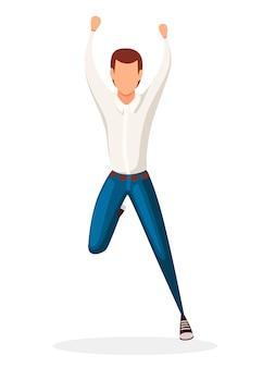 Szczęśliwy człowiek w dżinsach skoki. postać z kreskówki. bez twarzy . ilustracja na białym tle
