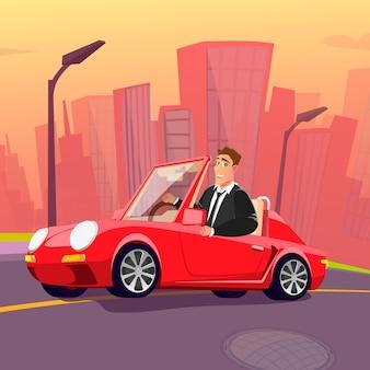 Szczęśliwy człowiek w garniturze jazdy nowym czerwonym samochodem przez miasto