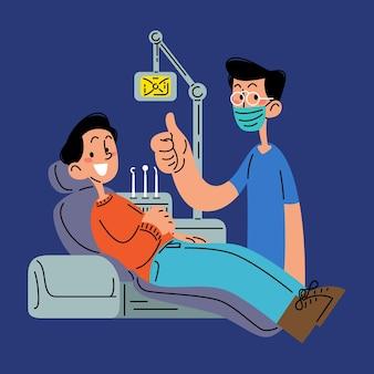 Szczęśliwy człowiek w klinice dentystycznej płaskiej ilustracji wektorowych