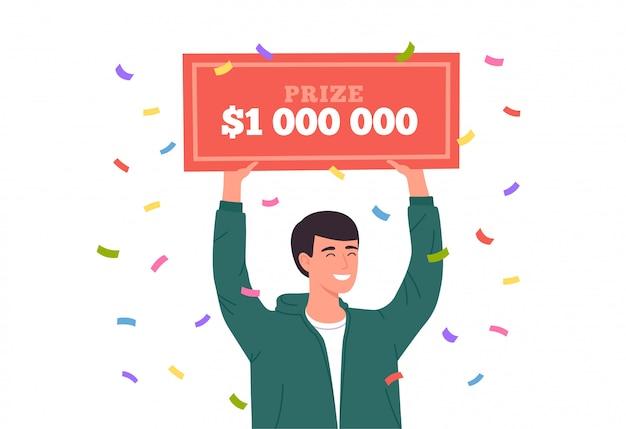 Szczęśliwy człowiek wygrywa na loterii. ogromna nagroda pieniężna w loterii. szczęśliwy zwycięzca trzyma czek bankowy na milion dolarów. ilustracja