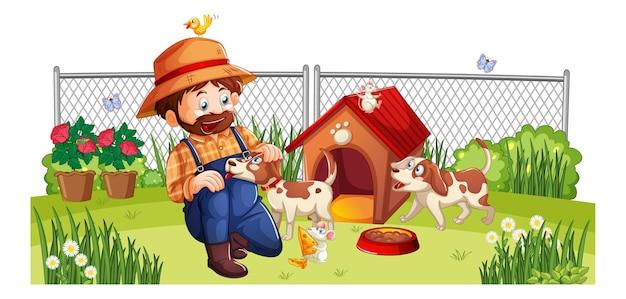 Szczęśliwy człowiek z psem na podwórku