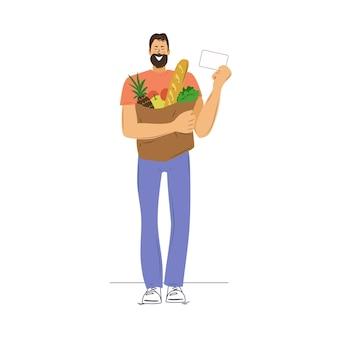Szczęśliwy człowiek z zakupami i kartą rabatową. ilustracja wektorowa.