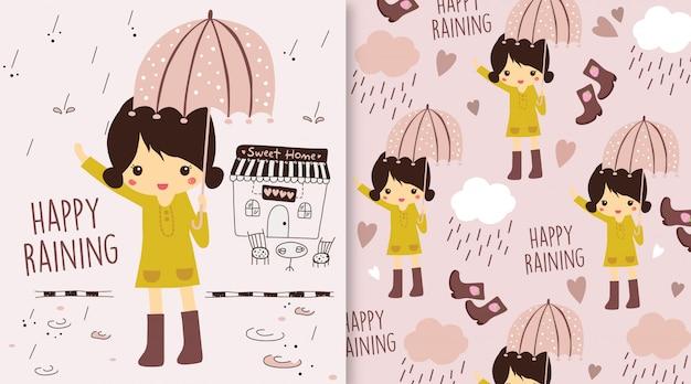 Szczęśliwy deszcz ilustracja dziewczyna