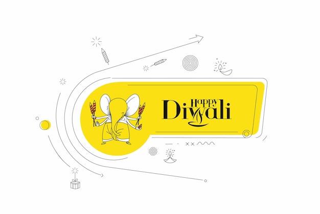 Szczęśliwy diwali hinduski festiwal z życzeniami, ilustracji wektorowych.