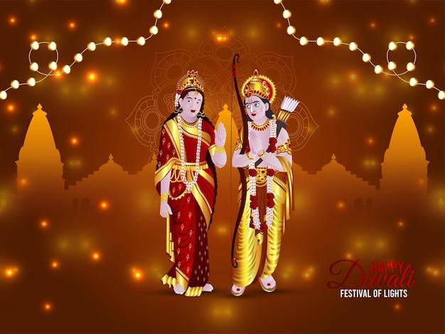 Szczęśliwy diwali indyjski festiwal światła celebracja karty z lordem lakshamanem i boginią sita ilustracją
