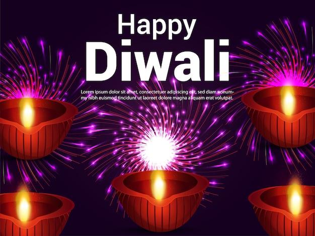 Szczęśliwy diwali kreatywne tło uroczystości indyjskiego festiwalu z diwali diya
