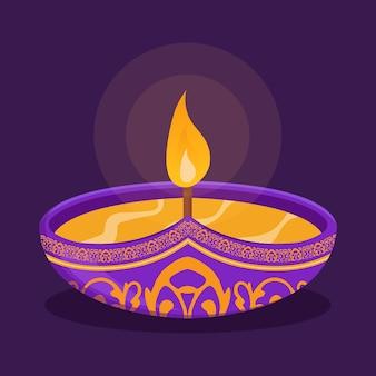 Szczęśliwy diwali projekt z elementami lampy naftowej diya na fioletowym tle, efekt musujący bokeh, kartka z życzeniami uroczystości diwali. ilustracja wektorowa