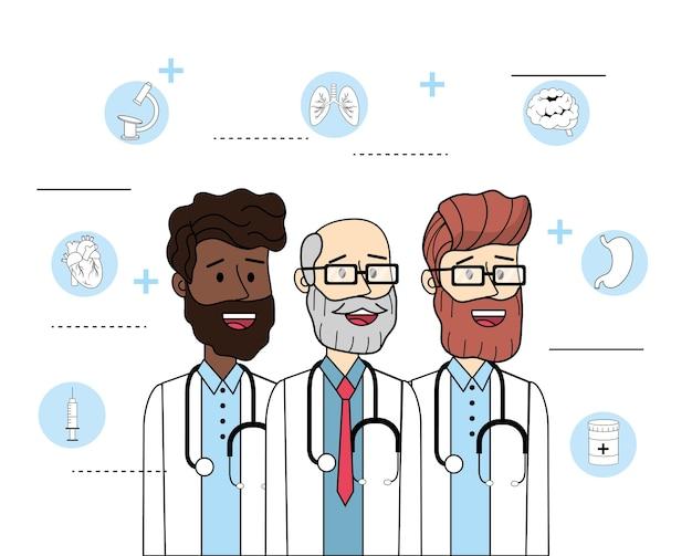 Szczęśliwy Doctosr Z Stetoskopem I Diagnozy Traktowaniem Premium Wektorów