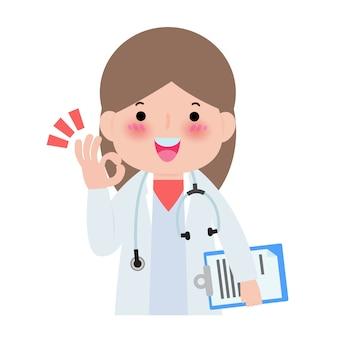 Szczęśliwy doktorski przedstawienie ręki ok znak odizolowywający na białej ilustraci