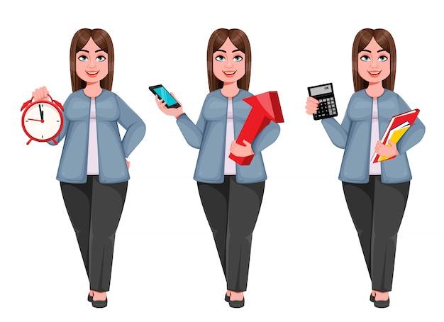 Szczęśliwy duży biznes kobieta, kobieta plus size