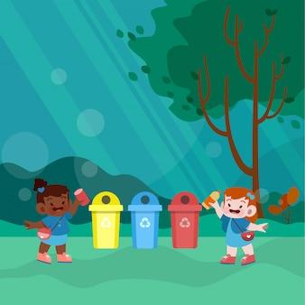 Szczęśliwy dzieciak bawić się w ogrodowej wektorowej ilustraci