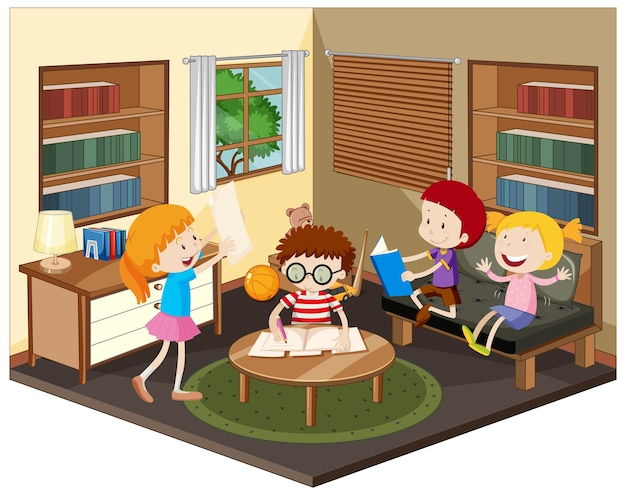 Szczęśliwy dzieciak odrabiania lekcji w salonie