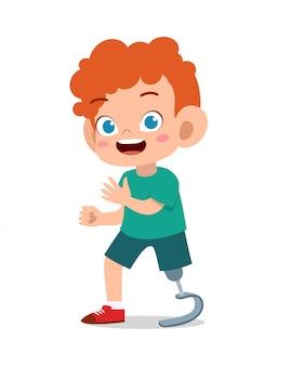 Szczęśliwy dzieciak z protetycznym noga wektorem