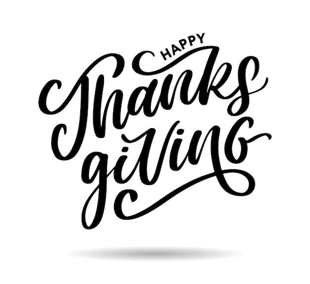 Szczęśliwy dziękczynienia napis pędzla tekst kaligrafii