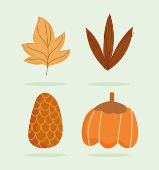 Szczęśliwy dziękczynienie, jesienne liście ikony dyni i szyszka