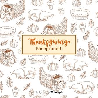 Szczęśliwy dziękczynienie tło z zarysowanymi ilustracjami