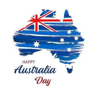Szczęśliwy dzień australii. mapa australii z flagą. ilustracji wektorowych