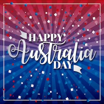 Szczęśliwy dzień australii, niebieskie i czerwone gwiazdki i linia z konfetti