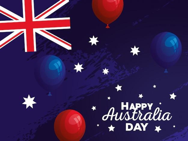 Szczęśliwy dzień australii z flagą i balony hel wektor ilustracja projektu