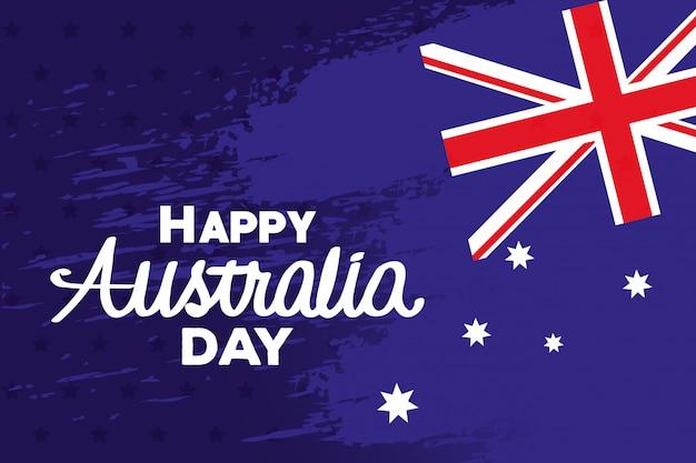 Szczęśliwy dzień australii z flagą i gwiazdy wektor ilustracja projektu