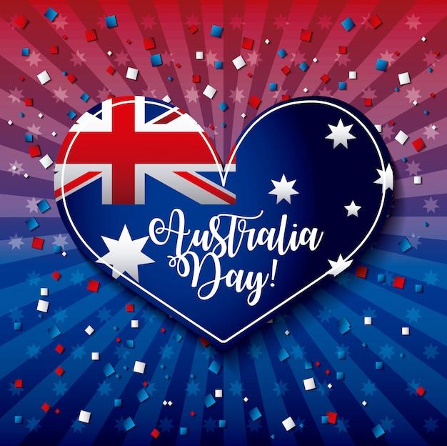 Szczęśliwy dzień australii z flagą na sercu, kształt ilustracji