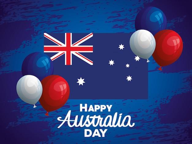 Szczęśliwy dzień australii z helem flaga i balony