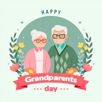 Szczęśliwy dzień babci i dziadka pozdrowienie ilustracja card