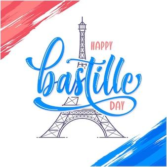 Szczęśliwy dzień bastylii szablon powitania karty