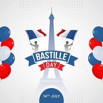 Szczęśliwy dzień bastylii transparent celebracja we francji ilustracji wektorowych