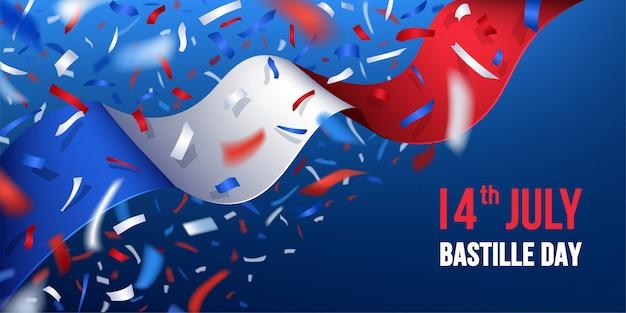 Szczęśliwy dzień bastylii we francji z konfetti