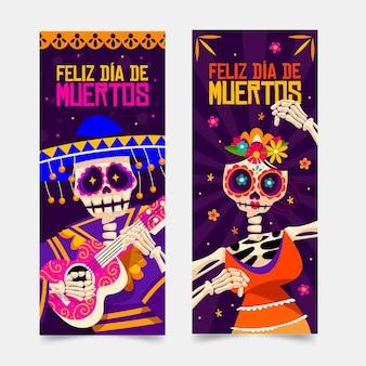 Szczęśliwy dzień czaszki zmarłego szablonu transparent