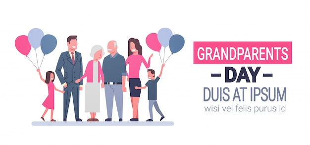 Szczęśliwy dzień dziadków karta z pozdrowieniami banner duża rodzina razem