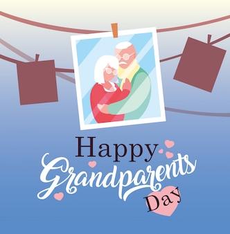 Szczęśliwy dzień dziadków plakat ze zdjęciem starej pary wiszące