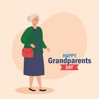 Szczęśliwy dzień dziadków z cute babcia wektor ilustracja projekt