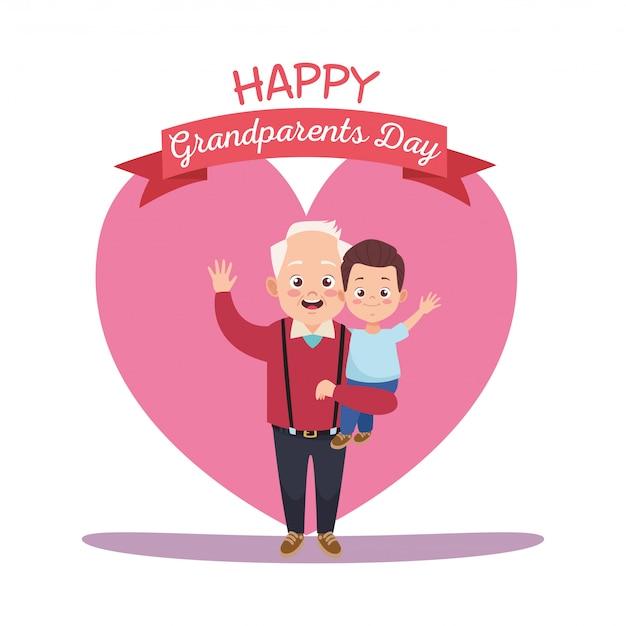 Szczęśliwy dzień dziadków z dziadkiem i wnukiem