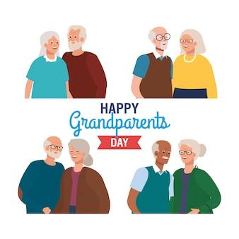 Szczęśliwy dzień dziadków z słodkie starsze pary wektor ilustracja projekt