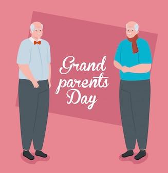 Szczęśliwy dzień dziadków z uroczą ilustracją dziadków