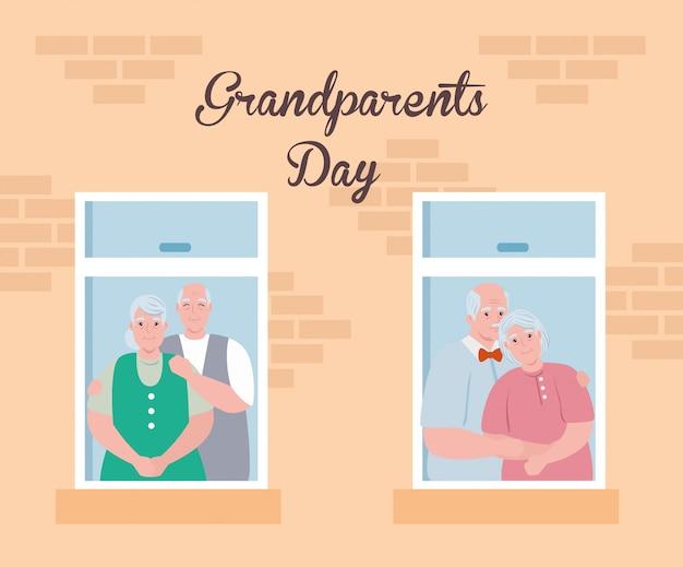 Szczęśliwy dzień dziadków z uroczymi staruszkami oglądającymi projekt ilustracji okna