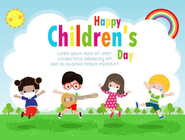 Szczęśliwy dzień dziecka dla nowej koncepcji normalnego stylu życia szablon do broszury reklamowej lub ulotki plakatowej, grupa ślicznych dzieci noszących chirurgiczną ochronną maskę medyczną zapobiegającą koronawirusowi lub covid-19